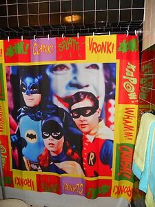 Anniversary-Batman-60-039-s-TV-show-Shower-Curtain-034-KaPow-034-Adam-West