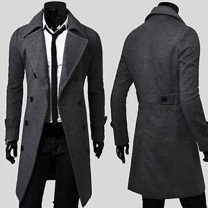 PARKA Military Men&amp039s Vintage Jacket Slim Fit Pea Coat Long