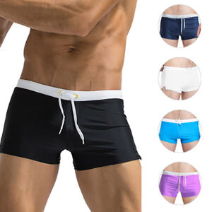 e187a6f973 Image is loading Men-Sexy-Swim-Trunks-Swimming-Pants-Slim-Swimwear-