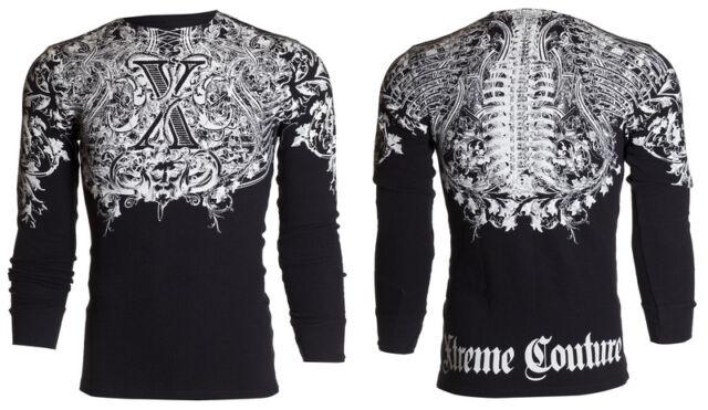Xtreme Couture AFFLICTION Mens THERMAL T-Shirt AUTUMN Tattoo Biker UFC M-3XL $58