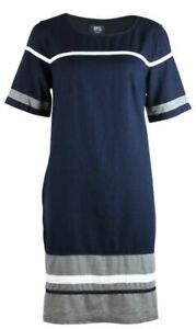 Womens-Navy-Blue-Grey-amp-White-Linen-Blend-Colour-Block-Stripe-Shift-Dress