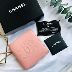 Chanel-Wallet-Caviar-Leather-Pink-Bifold-Purse-Authentic-Vintage-CW135