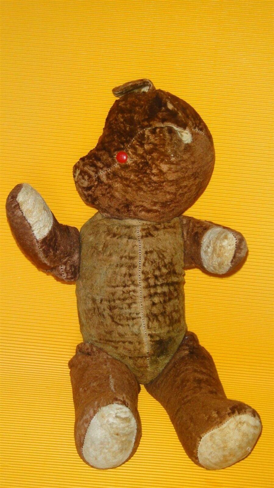 ANTIQUE VTG TOY STUFFED TEDDY BEAR STRAW STUFFED PLASTIC EYES