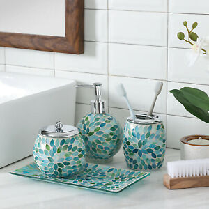 Bathroom Accessories Set 4 Piece Glass, Green And Blue Bathroom Accessories