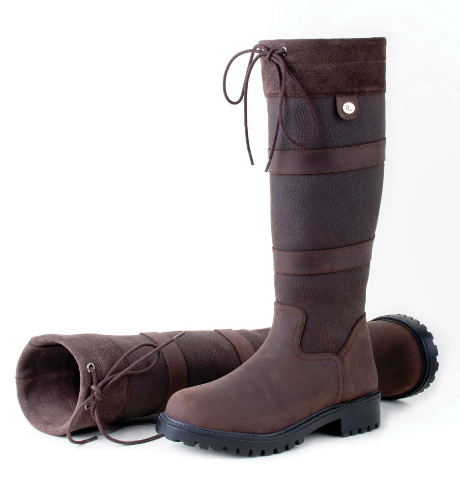 Rhinegold Elite Brooklyn Country Yard Stable Waxy Leather Boots Sizes 3-8 Brown