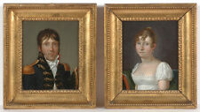 """C. van Cuylenburg-Attrib. """"Naval officer and his wife"""", two small oil paintings"""