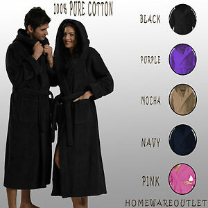 Unisex Bathrobe Dressing Gown Ladies Men 100 Cotton Shawl Hooded Housecoat