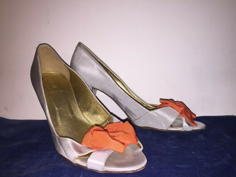 J J J CREW Silber Silky Shine Orange Bow Peep Toe High Heels Pumps damen schuhe Sz 8 a59a2b