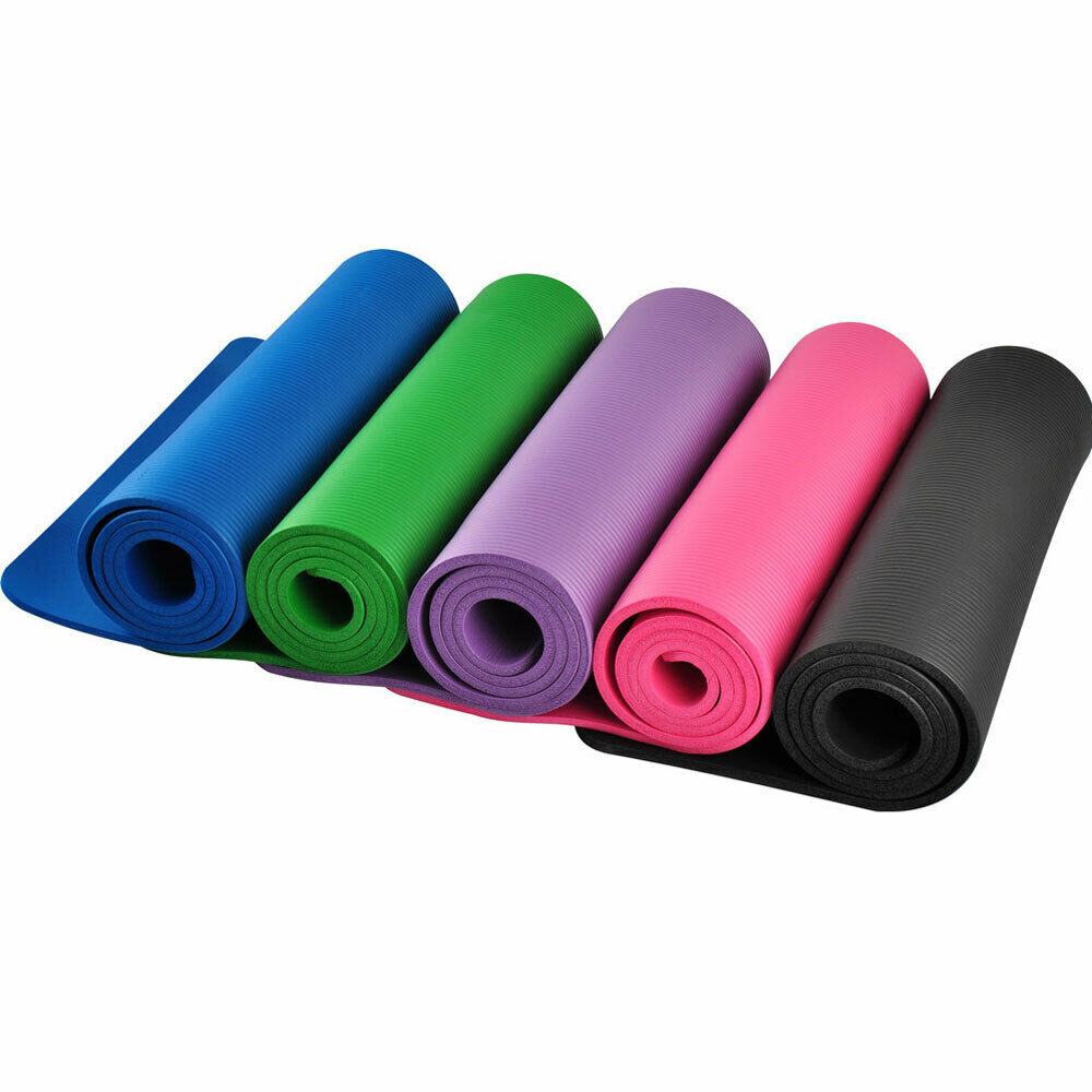 Exercise Yoga Mat 10MM Thick Pilates Fitness Workout Pad Gym Home w/Carry Strap