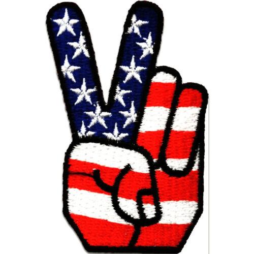 Aufnäher // Bügelbild USA Victory Peace Frieden rot 4,2 x 7,2 cm