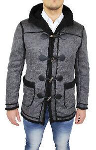 Details zu Mantel Jacke Herren Diamant Slim Fit Grau Montgomery Jacke Mit Pelz