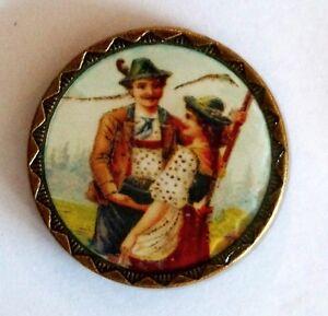 Nr-18-botones-de-Traje-antiguo-laton-Susurros-de-amor-25mm-40-034