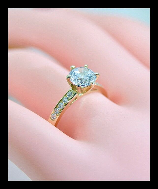 Fine Solid 1.75Ct Round Brilliant Cut Engagement Rings Real 10K Yellow gold