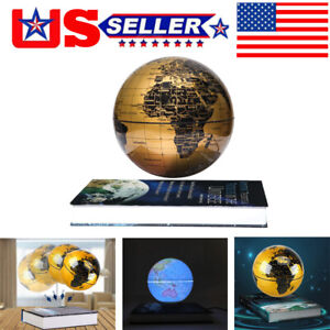 "6"" Magnetic Floating Globe Levitation Golden Led World Map Home Decor Gift"