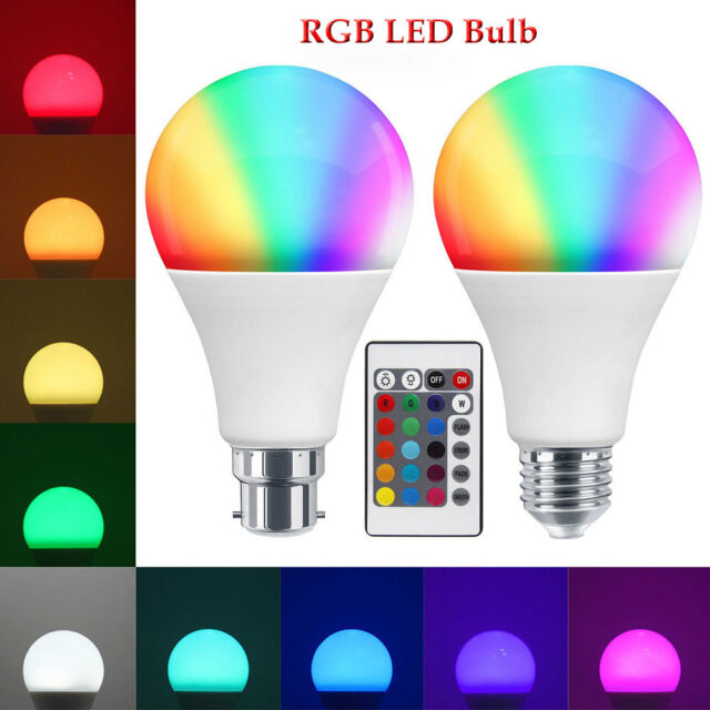 B22 E27 7W RGB 16 Changement de Couleur Led Ampoule LED Lampe +Telecommande FTP