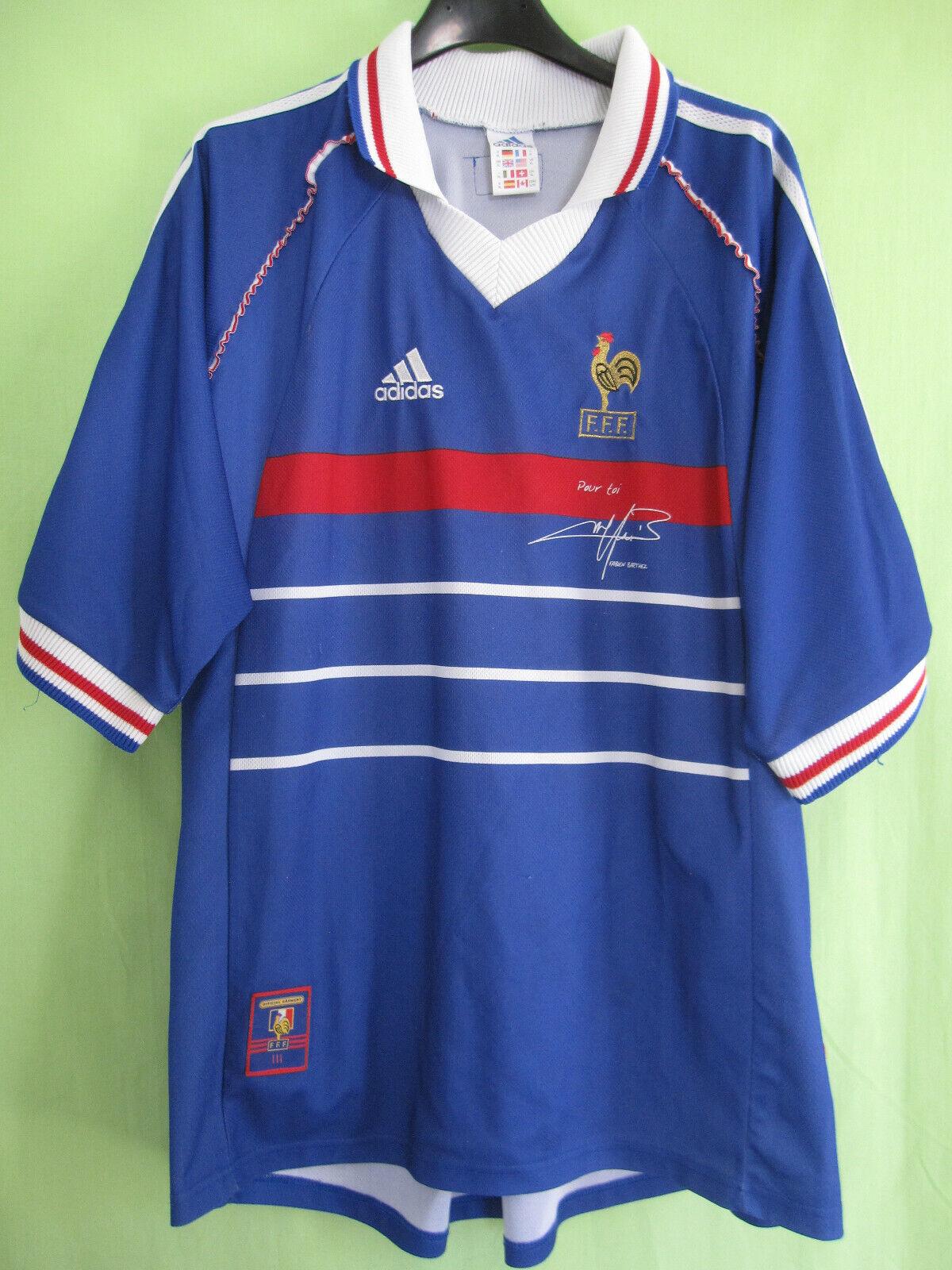 Maillot EQUIPE DE FRANCE Mondial 1998 Vintage Adidas Pour toi Barthez - XL