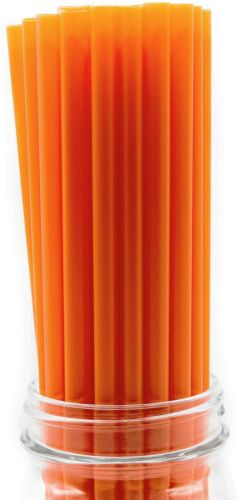 """Made in USA Pack of 100 Orange Giant Plastic Smoothie 10/"""" X 0.31/"""" Drinking ..."""