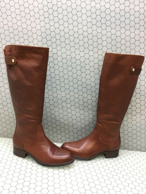 4734d66fa90 Steve Madden JOURNAL Cognac Leather Side Zip Knee High Boots Women's Size  9.5 M