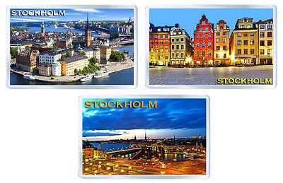 STOCKHOLM SWEDEN SET OF 3 FRIDGE MAGNET SOUVENIR 3 IMANES NEVERA
