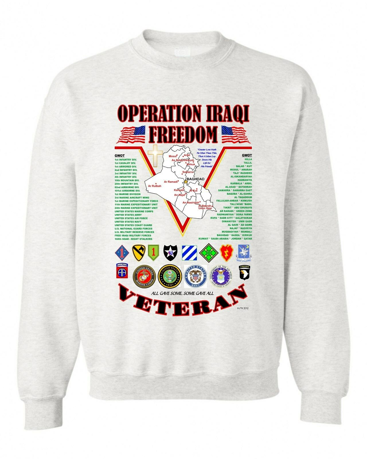 IRAQ: OPERATION IRAQI FREEDOM VETERAN UNIT  CAMPAIGN & BATTLE SWEATSHIRT