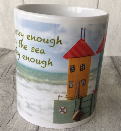 Beach Huts Design Tea//Coffee Mug  'If You're Lucky Enough To Live By The Sea'