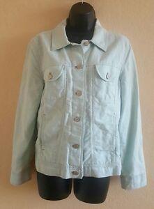 Womens-J-JILL-Jean-Jacket-Button-Front-Linen-Blend-Light-Teal-Size-Small