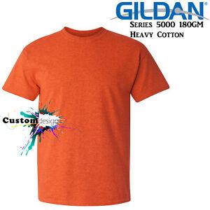 Gildan-T-SHIRT-Antique-Orange-Basic-tee-S-M-L-XL-2XL-big-Men-039-s-Heavy-Cotton