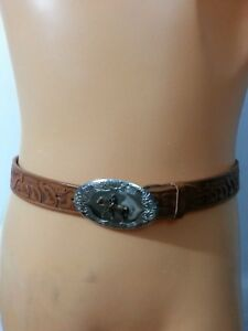 Men-Belt-Hand-Antiqued-Tooled-Steerhide-Brown-Leather-Buckle-ManHorse-Western-34