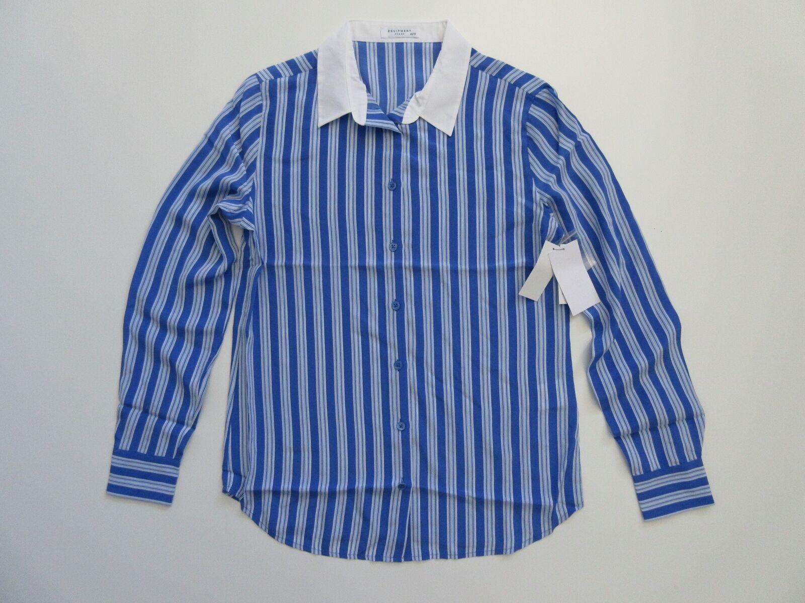 NWT Equipment Audrey in Amp Blau Stripe Contrast Collar Silk Button Shirt L