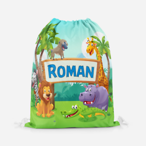 Personalised Jungle Zoo Safari Animals Kids Drawstring PE Swimming School Bag