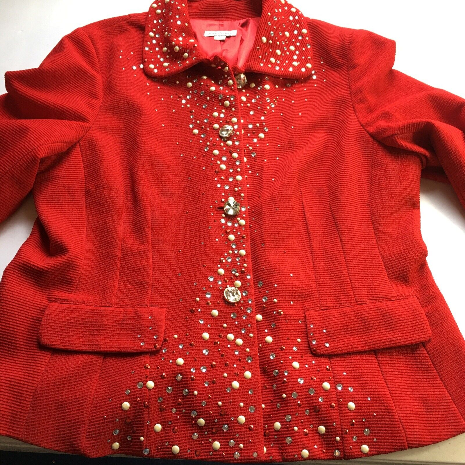 JOAN RIVERS Red Holiday Party Bling Blazer Jacket Size Large Faux Diamond Button
