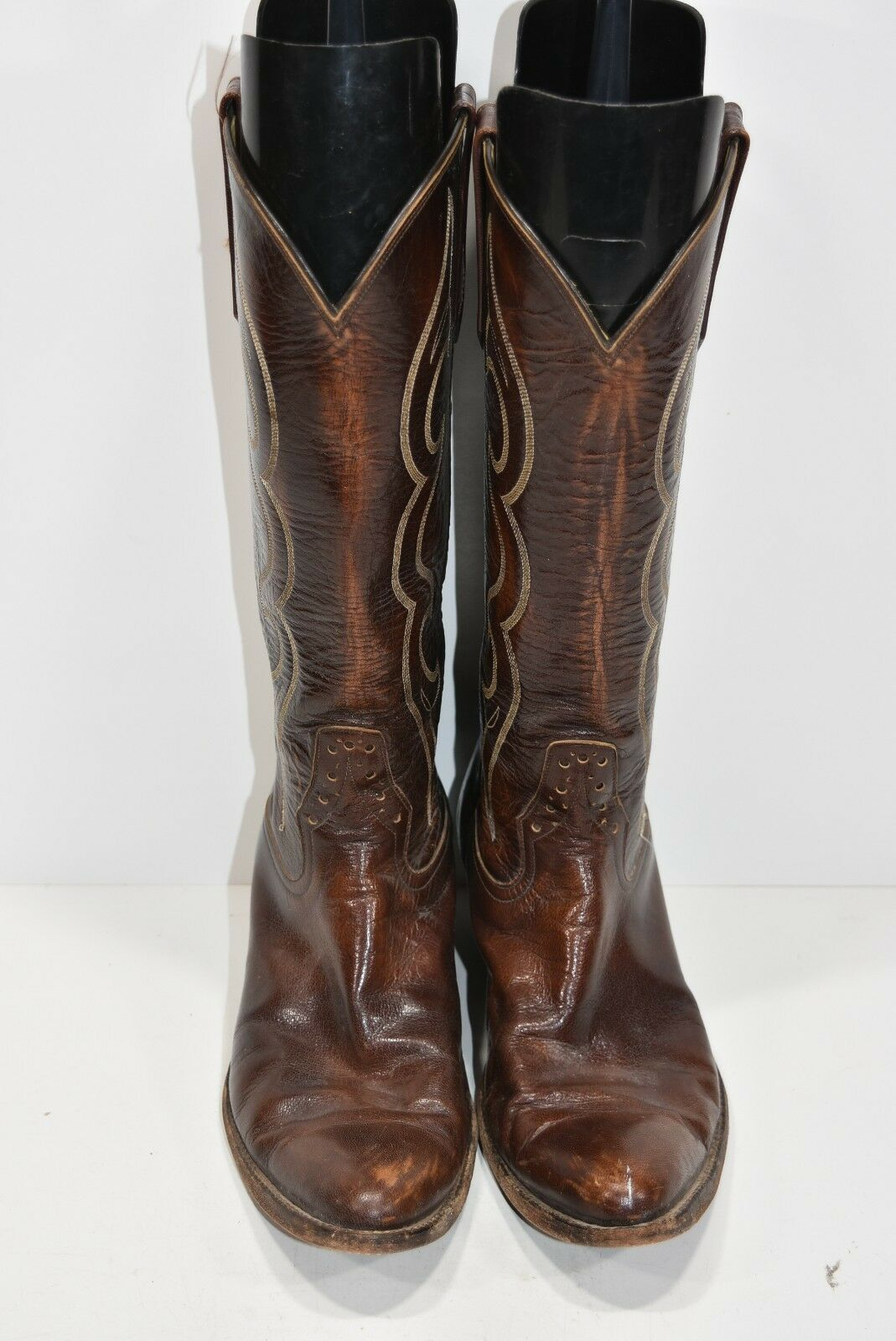 RIOS OF MERCEDES MENS 8 D BROWN LEATHER CLASSIC WESTERN COWBOY BOOTS ROPERS