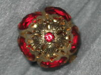 Vintage Bezel Set Garnet Rhinestone Tiered Ring