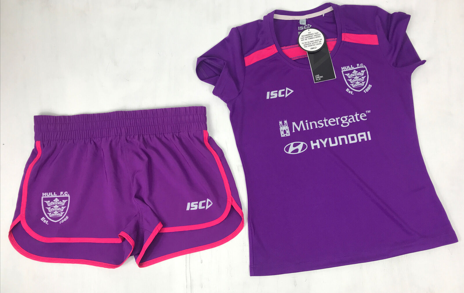Hull FC Rugby Ladies Purple Training T-Shirt & Shorts Size 10, VGC