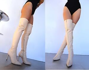 Nude Zip 37 Couture Boots Front Custom Beige Stivali Overknee Cq Leather Stiefel vBxqP00w