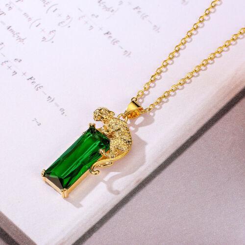 Charm Chain Golden Leopard Rhinestone Pendant Necklace Unisex Jewelry Gift G HK