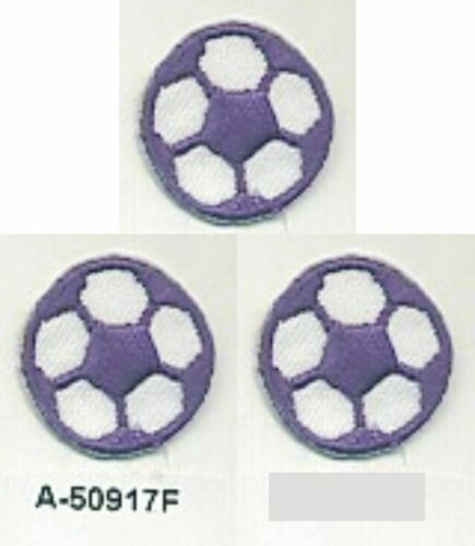Lot of 3 Purple White Soccer Ball Football Embroidery Applique Patch