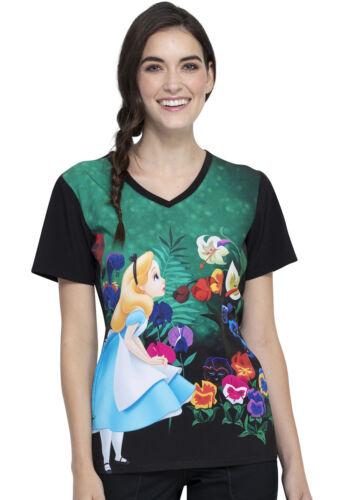 Alice in Wonderland Cherokee Scrubs Tooniforms Disney V Neck Top TF627 ALWL