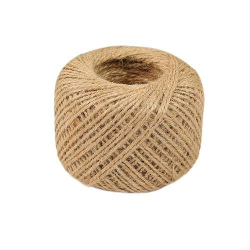 50m Soft Natural jute ficelle ficelle cordon enrouleur accrocher ruban I