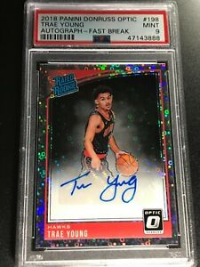 TRAE YOUNG 2019 PANINI DONRUSS OPTIC #198 FAST BREAK AUTO ROOKIE RC PSA 9 RARE