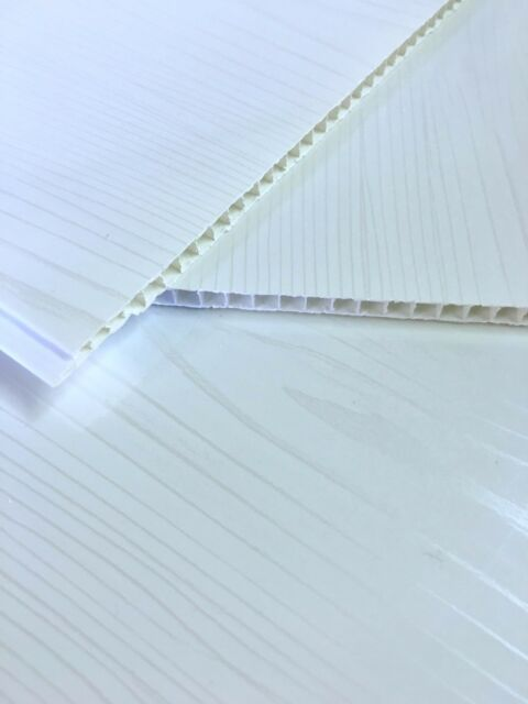 10 White Ash Gloss Bathroom Ceiling Panels Shower Wall Cladding PVC Kitchen