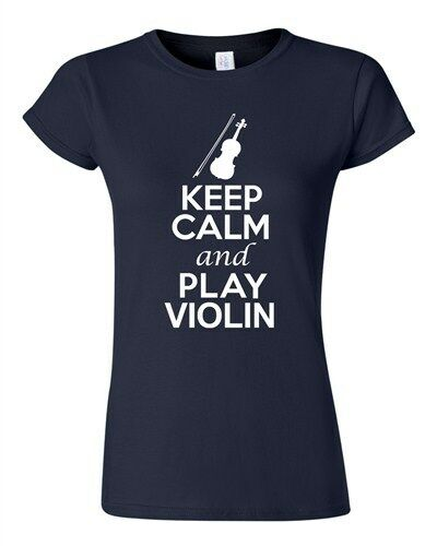 City Shirts Junior Keep Calm And Play Violin String Music Lover DT T-Shirt Tee