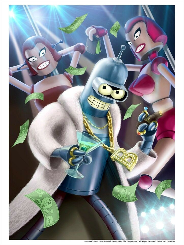 Pimp Gold Chain Necklace Bender Robot Strippers Cash Funny Artwork Futurama Art