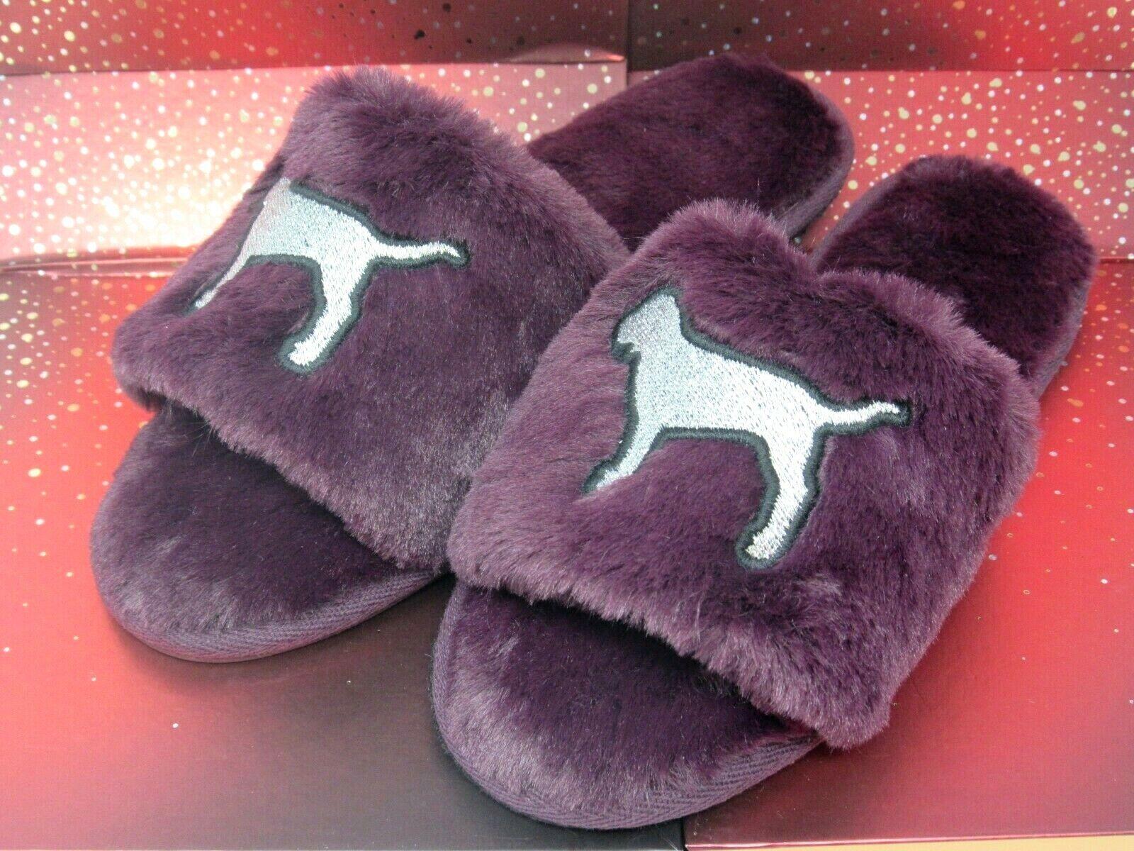 Victoria's Secret Pink Slipper, Slides, Super Soft, Dorm Perfect Burgundy Plum S