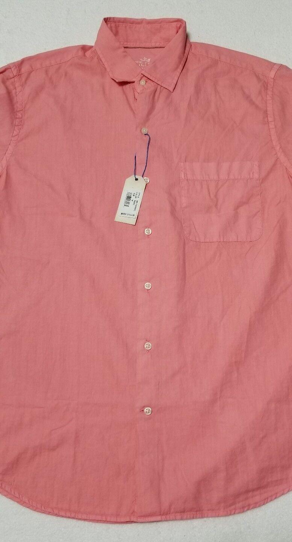 Peter Millar Mens Medium Seaside Collection Solid Pink Cotton Silk Blend Shirt