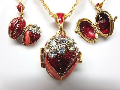 "Red Lilly Easter Egg Pendant W/ 18"" Chain heart inside faberge inspired"