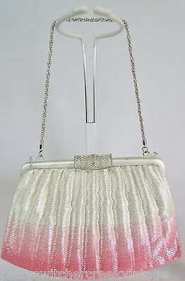 Vintage Japan NISHIJIN Ladies Fabric Handbag With Chain Mesh Strap