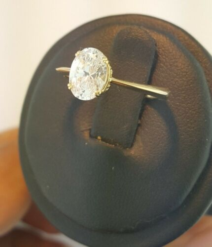 14K Solid Yellow Gold 1 CT Oval Cut Diamond Solitaire Engagement Ring