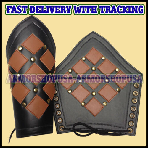 Genuine Leather Studded Medieval Bracer Pair Gauntlet Arm Guard LARP Armour SCA