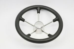New 13-1/2 Inch 5 Spoke Boat Steering Wheel with Black Foam and SS cap